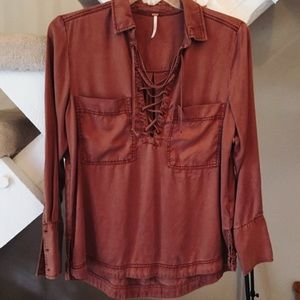 Free People Rust Lace Up Collared Shirt
